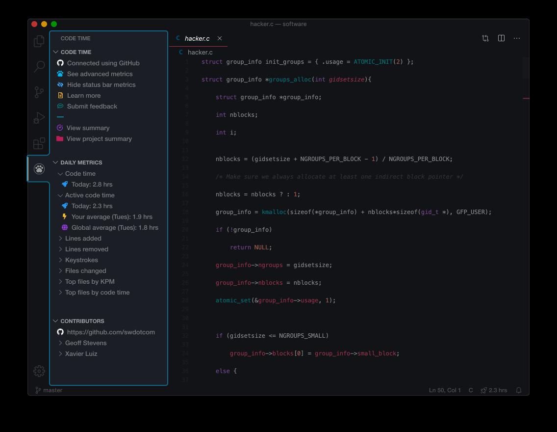 Code Time for VS Code side bar