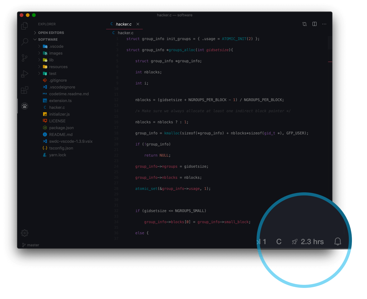 Code Time for VS Code status bar